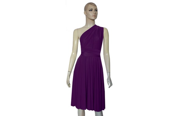 Plum bridesmaid dress Infinity short gown Convertible knee length dress  Prom plus size dress Maid of honor gown Wrap flare dress XXS-5XL