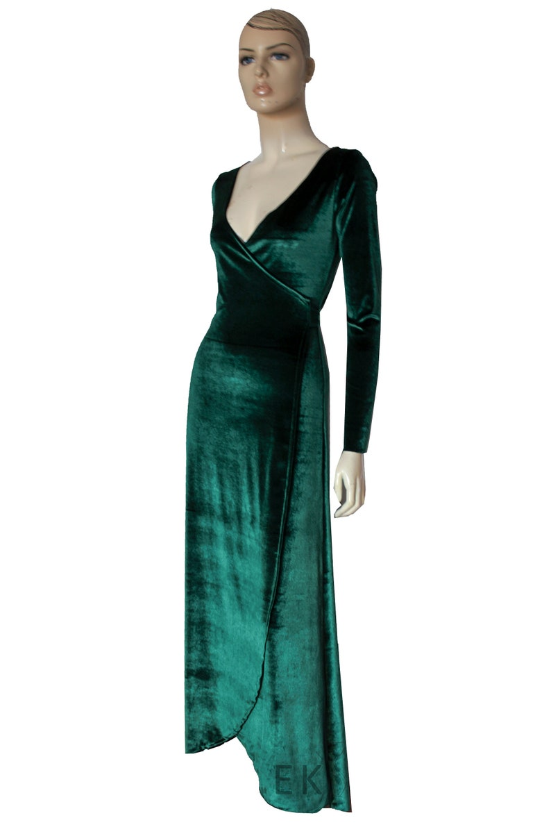 fa7f887c807 Green Velvet Wrap Dress Bridesmaids Gown Prom Convertible