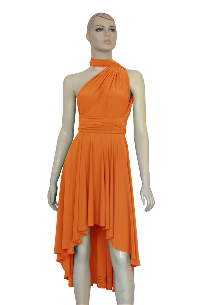 Infinity Bridesmaid Dress Orange High Low Dress Tea Length Prom Gown  Multiway Plus Size Dress Wrap Gown XXS XS S M L XL 1XL 2XL 3XL 4XL 5XL
