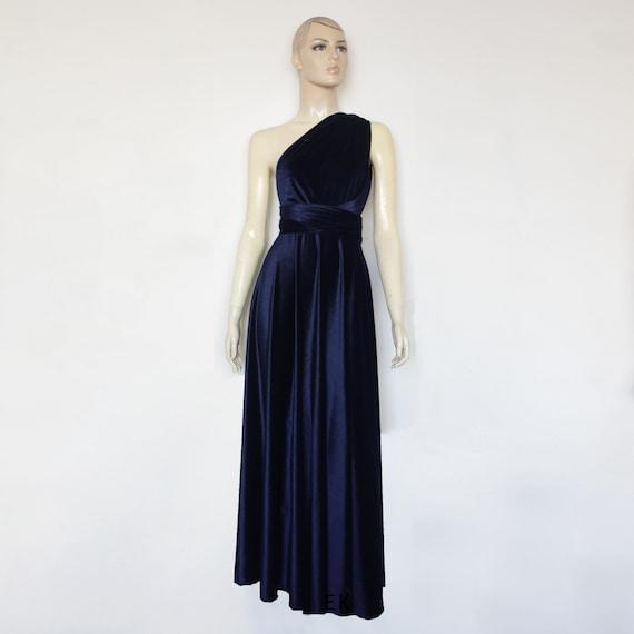 Velvet Dress Infinity Bridesmaid Dress Navy Blue Gown Plus Size Evening  Dress Long Prom Gown Formal Maternity Dress Multiway Dress XXS-5XL