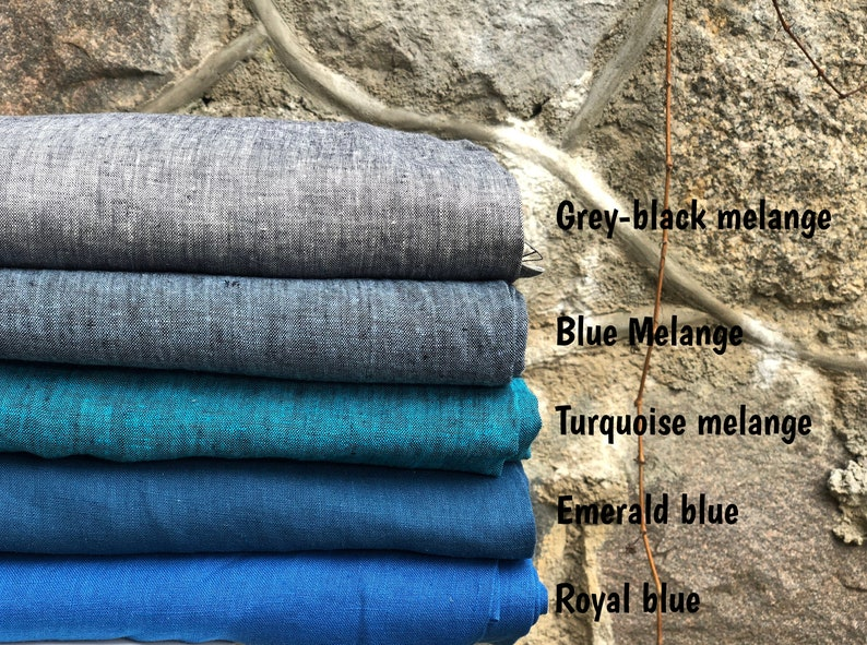 European linen fabric Organic linen fabric 26 color from color card Grey -black melange linen Stone washed linen fabric