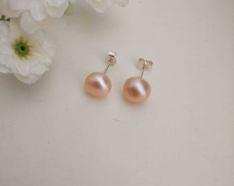 Free Shipping-Pink Button Freshwater Pearl Stud Earrings, Sterling Silver Ear Post and Nuts, Gift Ideas, For Her. Valentine's, Mother's Day.
