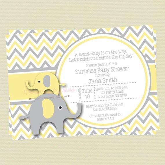 Yellow and gray elephant baby shower invitationyellow and etsy image 0 filmwisefo