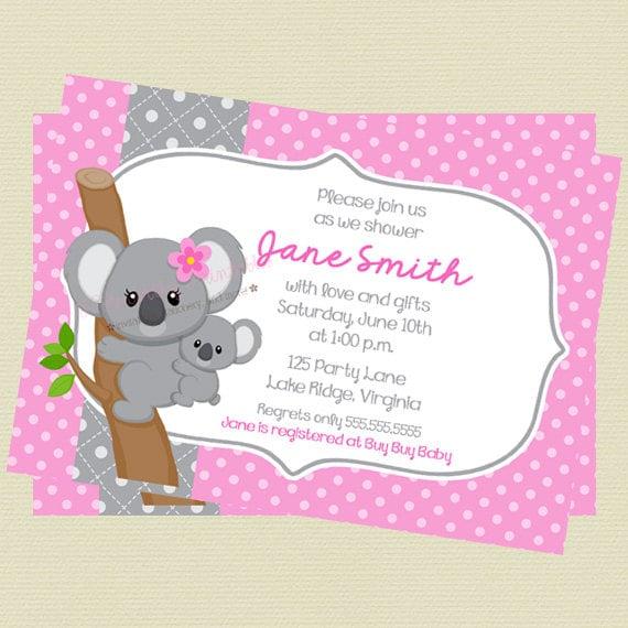 Nadruk Różowy I Szary Koala Baby Shower Zaproszenie