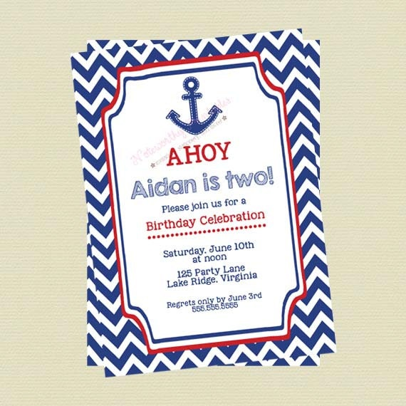 Nautical Birthday Invitations Nautical Boy Birthday Invites