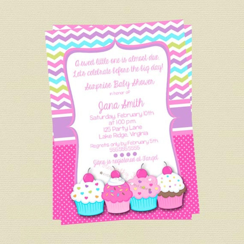 Cupcake Baby Shower Invitations Cupcake Invitations Etsy