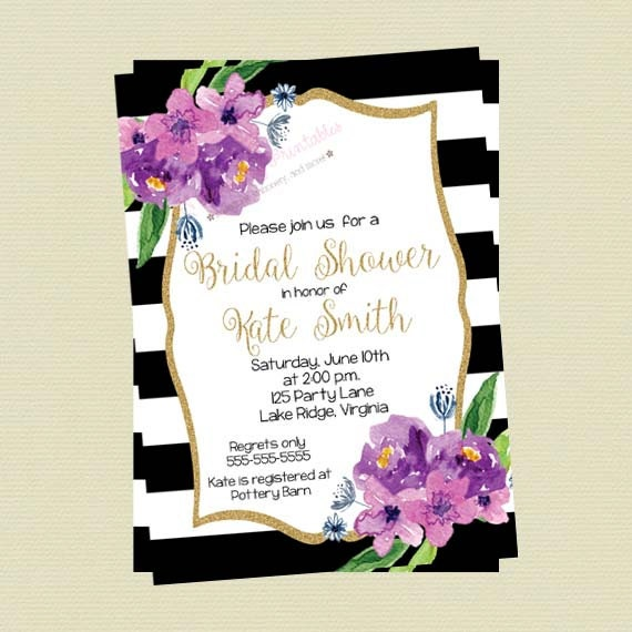 28b44529984c Bridal Shower Invitation - Floral Black and White Stripes - Purple  Watercolor Flowers - Gold Glitter Shower Invite - DIY Printable File