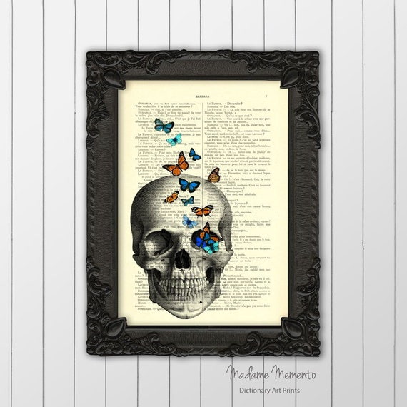 Tirage De Tête De Mort Affiche De Tête De Mort Oeuvre De Tête De Mort Collage De Tête De Mort Tête De Mort Wall Art Dictionnaire Art Impression