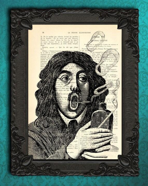 Smoker Gift Blowing Smoke Circles Art Print Smoking Pipe Art Etsy
