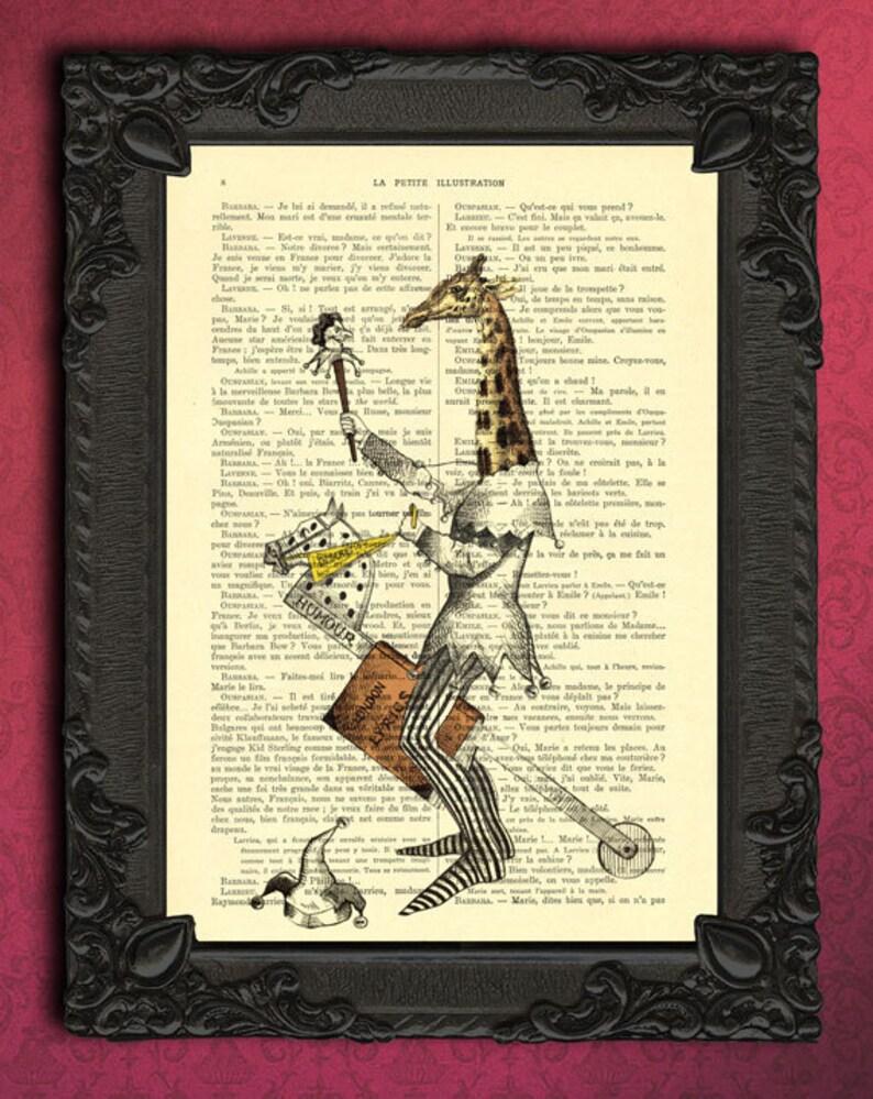 Giraffe art | vintage dictionary print fantasy art | whimsical giraffe with  hobby horse | illustration of jester on stick horse