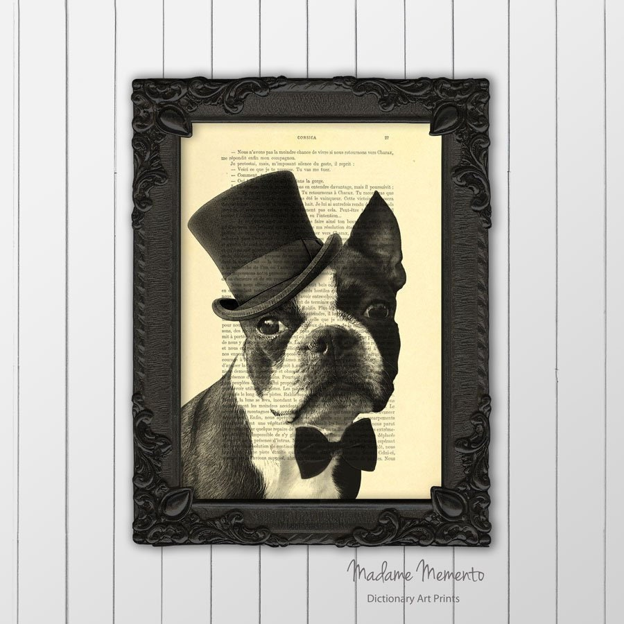 7066cd17d4e Boston Terrier with top hat and bow tie print dog lover gifts