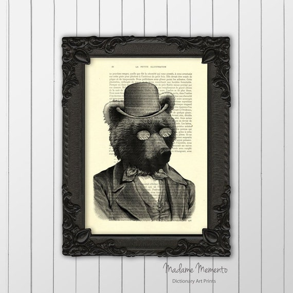 c6fab265897 bear in clothes artwork poster brown bear with hat and
