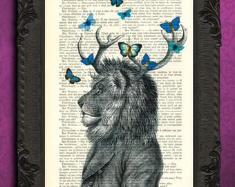 lion with antler dictionary art, lion print blue butterflies antique book page dictionary art, lion portrait dictionary page