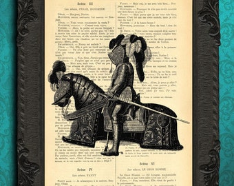 Horse knights armor medieval wall art book page, soldier armour
