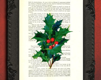 holly leaf print christmas holly print holly berries illustration