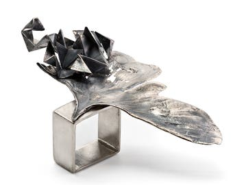 Oxidized Silver Ring - Wing