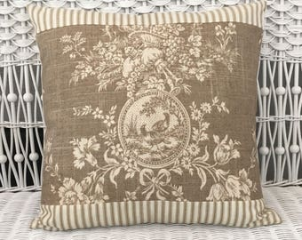 Waverly toile and ticking striped pillow cover or sham / cottage, farmhouse, French country, French farmhouse