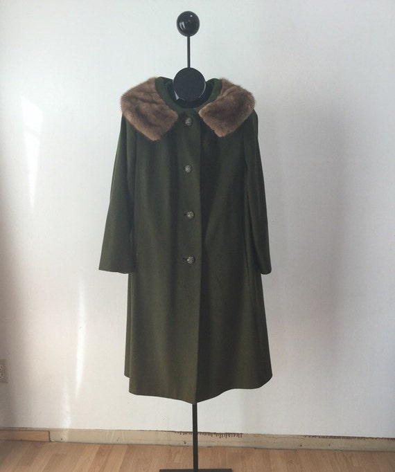 Olive Green Wool Swing Trapeze Coat