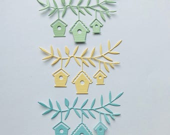 Birdhouse Trio Die Cuts Set of 8 Card Toppers Embellishments