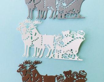 Santas reindeer and sleigh die cuts