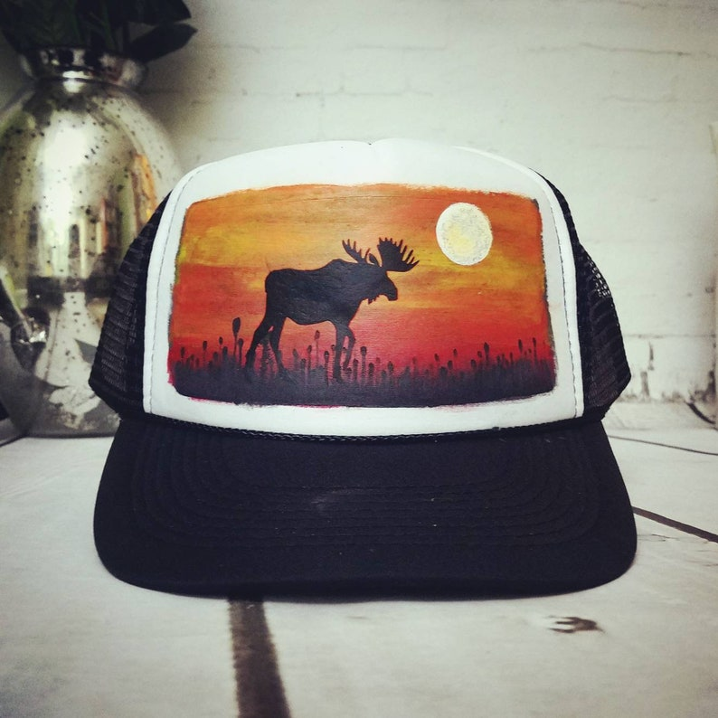 bb18f9c0c7655 Art Trucker Hat Hand Painted Sunset Moose available in custom