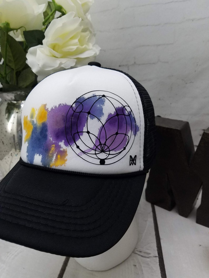 06e6375cbac02 Custom Painted Watercolor Art Trucker Hat with Lotus Sacred