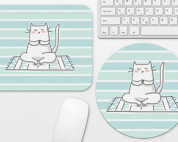 Yoga Cat Mouse Pad Cat Mousepad Gift Aqua Mint Mouse Pad Cute Mouse Mat Circle Round Rectangular Office Decor Desk Accessories for Women