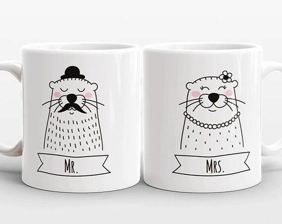 Set of 2 MR and MRS Mugs Set, Engagement Mug Set, Otter Mugs, Mr and Mrs Gift, Couple Mugs, Wedding Gift for Couple Gift, Animal Coffee Mugs