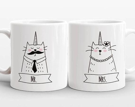 Set of 2 MR and MRS Mugs Set, Cat Unicorn Couple Mugs, Unique Mr and Mrs Gift, Couples Gift, Wedding Gift, Coffee Mugs, Animal Coffee Mugs