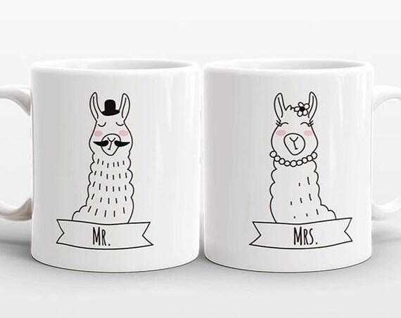 MR and MRS Mug Set Llama Valentine Day Gift Wedding Gift for Couple Anniversary Gift Men Women Engagement Gift Llama Mugs Couple Coffee Mugs