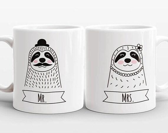 Set of 2 MR and MRS Mugs Set, Sloth Mugs, Mr and Mrs Gift, Couple Mugs, Wedding Gift for Couples Gift, Mr and Mrs Animal Mugs, Coffee Mugs