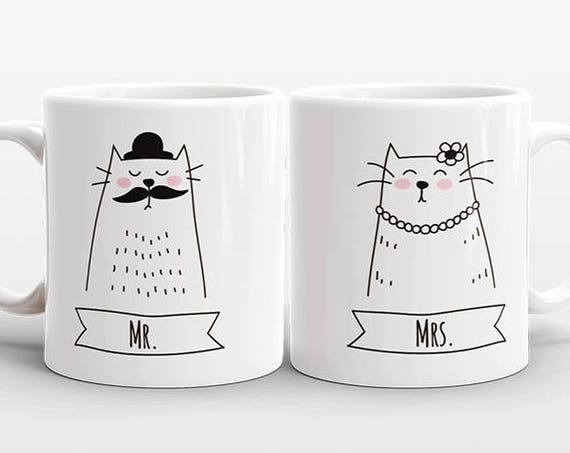 MR and MRS Mugs Set of 2 Two Personalized Gift Idea for Couple Mugs Wedding Gift for Couple Gift Engagement Gift Cat Mugs Animal Coffee Mugs