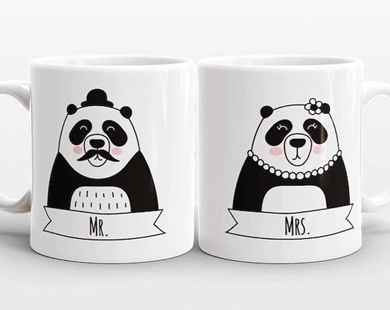 Set of 2 MR and MRS Mugs Set, Panda Mugs, Mr and Mrs Gift, Couple Mugs, Wedding Gift for Couples Gift, Mr and Mrs Animal Mugs, Coffee Mugs