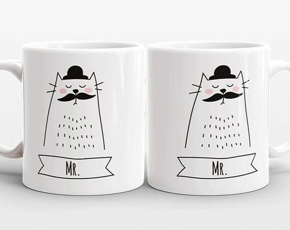 Cat GAY Couple Mugs, Set of 2 MR and MR Mugs, Gay Wedding Gift, Engagement Gift, Anniversary Gift, Gay Couple Gift, Gay Mugs, Coffee Mugs