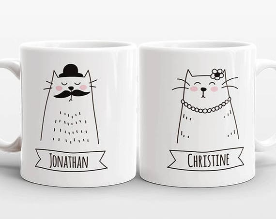 Set of 2 Personalized Mugs Cat Mugs Valentines Day Gift Idea for Couple Mugs Engagement Gift Anniversary Gift Wedding Gift Name Coffee Mugs