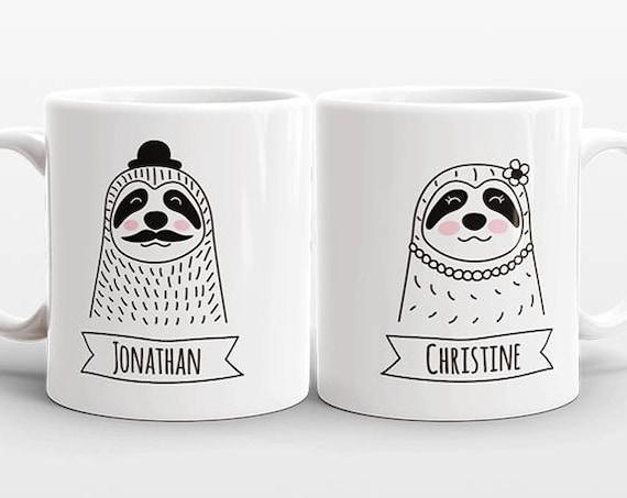Set of 2 CUSTOM Mugs Set, Name Mugs, Sloth Couple Mugs, Anniversary Gift for Men, Boyfriend Gift, Personalized Wedding Gift Set, Coffee Mugs