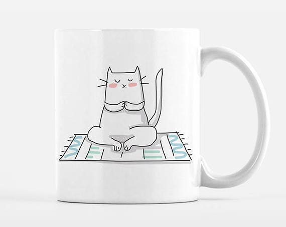 Yoga Cat Mug, Cat Coffee Mug, Yoga Mug, Yoga Gift for Yogi, Yoga Coffee Mug, Cat Cup, Funny Coffee Mug, Cute Mug, Office Mug, Coffee Cup