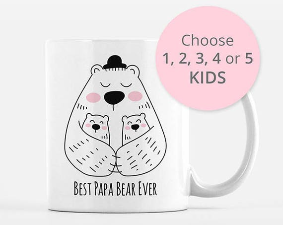 Papa Bear Mug, Dad Mug, New Dad Gift from Twins Triplets, Dad Birthday Gift, Dad Coffee Mug Cup, Fathers Day Gift from Kids, Fathers Day Mug