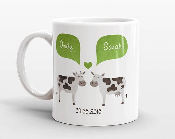 COW Couple Mug Personalized Wedding Gift for Couple Engagement Gift Ideas Anniversary Gift for Men Women Husband Him Her Animal Coffee Mug