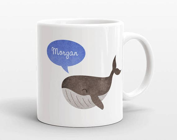 Custom Name Coffee Mug Whale Gift Idea for Women Men Her Him Mom Dad Adult Kid Whale Lover Best Friend Birthday Teacher Gift Personalized