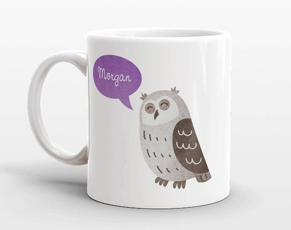 Custom Name Coffee Mug Owl Gift Idea for Women Men Her Him Mom Dad Adult Kid Owl Lover Best Friend Birthday Teacher Gift Personalized
