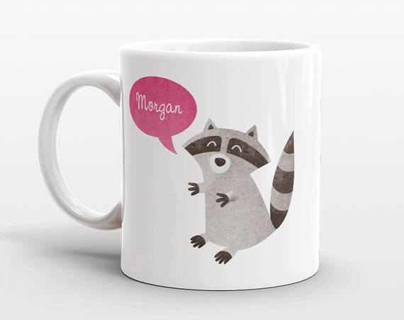 Custom Name Coffee Mug Raccoon Gift Idea for Women Men Her Him Mom Dad Adult Kid Racoon Lover Best Friend Birthday Teacher Gift Personalized