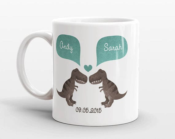 T-REX Dinosaur Couple Mug Personalized Wedding Gift for Couple Engagement Gift Anniversary Gift for Men Women Husband Him Her Coffee Mug