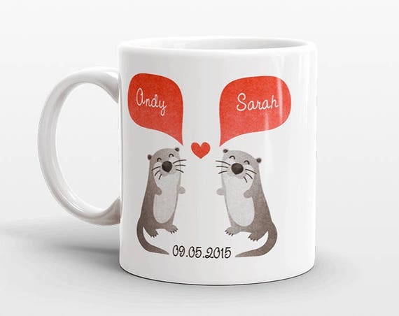 OTTER Couple Mug Personalized Wedding Gift for Couple Engagement Gift Ideas Anniversary Gift for Men Women Husband Him Her Animal Coffee Mug