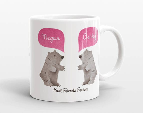 Best Friend Gift, Grizzly Bear Mug, Personalized Best Friend Mug, Animal Best Friend Coffee Mug, Unique Friendship Gift Friend Birthday Gift