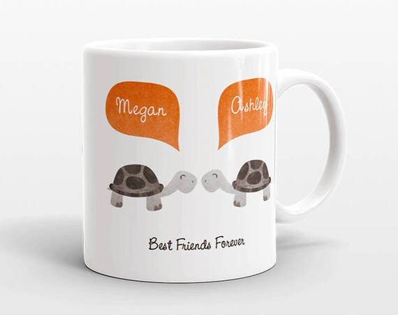 Best Friend Gift, Turtle Mug, Personalized Best Friend Mug, Animal Best Friend Coffee Mug, Unique Friendship Gift Best Friend Birthday Gift