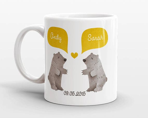 GRIZZLY BEAR Couple Mug Personalized Wedding Gift for Couple Engagement Gift Ideas Anniversary Gift for Men Women Husband Him Her Coffee Mug