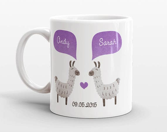 LLAMA Couple Mug Personalized Wedding Gift for Couple Engagement Gift Ideas Anniversary Gift for Men Women Husband Him Her Alpaca Coffee Mug