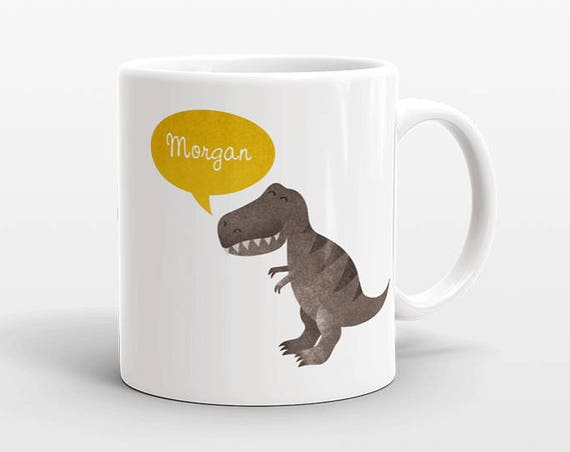Custom Name Coffee Mug T-Rex Dinosaur Gift Idea for Women Men Her Him Mom Dad Adult Kid Best Friend Birthday Teacher Gift Personalized