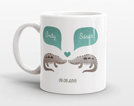 CROCODILE Couple Mug Personalized Wedding Gift for Couple Engagement Gift Anniversary Gift Men Women Husband Him Her Alligator Coffee Mug